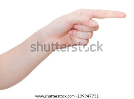 side view of pointing index finger - hand gesture isolated on white background