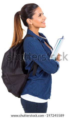 side view of pretty college girl looking up - stock photo