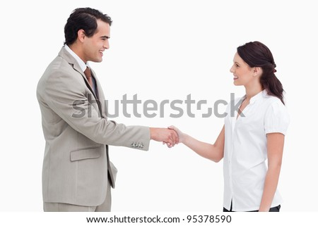 Side view of salespeople shaking hands against a white background - stock photo