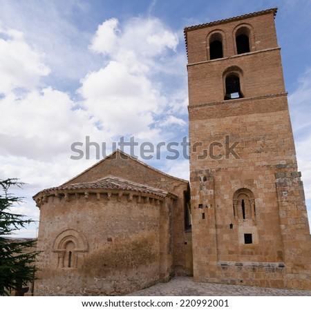 Side view of SanMiguel church in San Esteban de Gormaz, Soria, Castile and Leon, Spain - stock photo