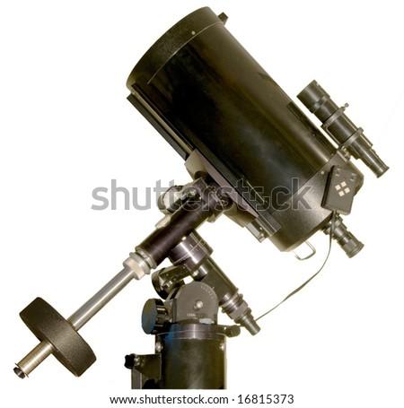 Side view of Schmidt Cassegrain telescope - stock photo