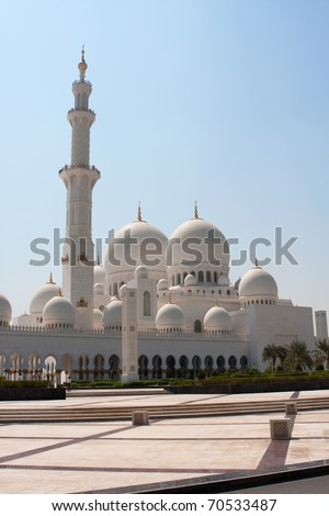 Side view of Sheikh Zayed mosque or grand mosque in Abu Dhabi - stock photo