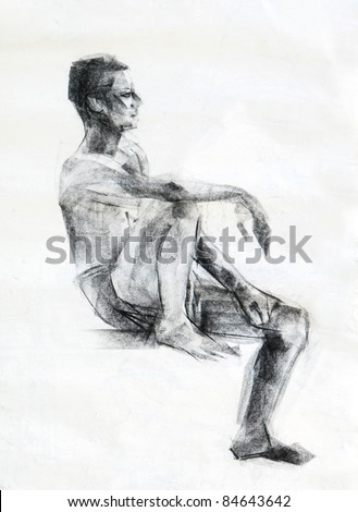 how to draw human sitting