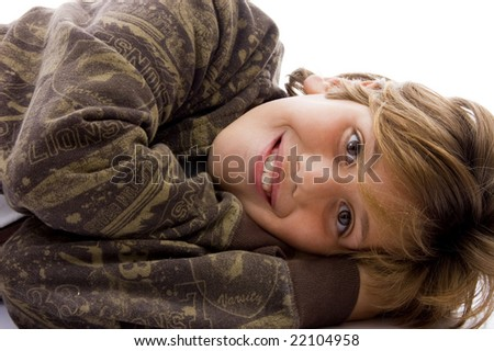 side view of sleeping boy against white  background - stock photo