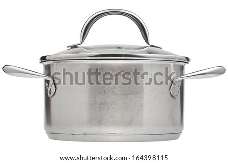 side view of small stainless steel saucepan covered by glass lid isolated on white background