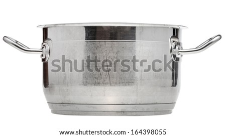 side view of small stainless steel saucepan isolated on white background - stock photo