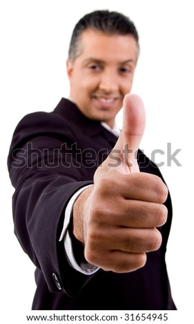side view of smiling boss showing thumb up on  an isolated white background - stock photo