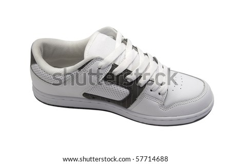 Side view of sneaker. Isolated on white background - stock photo