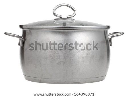 side view of stainless steel saucepan covered by glass lid isolated on white background