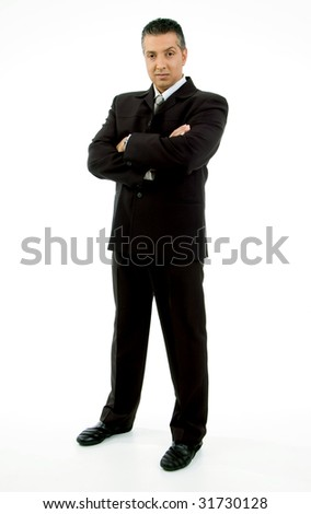 side view of standing adult ceo looking at camera with white background - stock photo