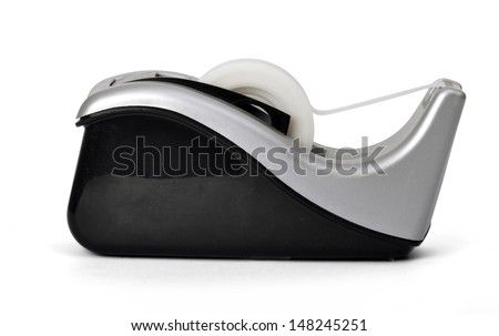 Side view of sticky tape dispenser on white background - stock photo