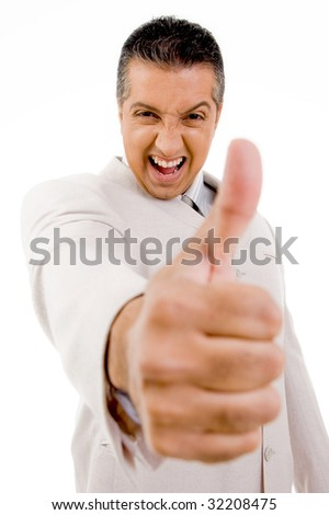 side view of successful businessman showing thumb up with white background - stock photo
