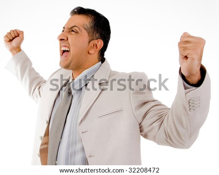 side view of successful manager looking aside on white background - stock photo