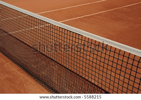 side view of tennis court net - stock photo