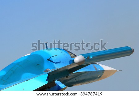 Side view of the modern russian fighter  - stock photo