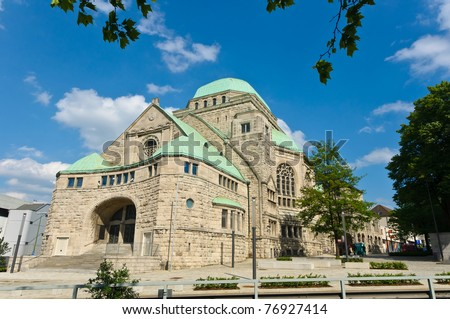 Side view of the old synagogue in Essen, Germany - stock photo