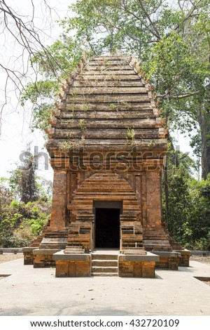 Side view of the only Cham Tower in jungle in Central Highlands of Vietnam, Yang Prong Tower is situated in Ea Sup District, 100km away from Buon Ma Thuot