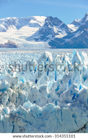 Side view of the Perito Moreno Glacier, Patagonia, Argentina - stock photo