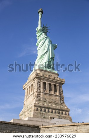 Side view of the Statue of Liberty in New York, USA. - stock photo