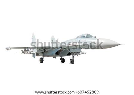 Side view of the supermaneuverable fighter aircraft on the white background