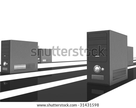 side view of three dimensional rendered cpu - stock photo
