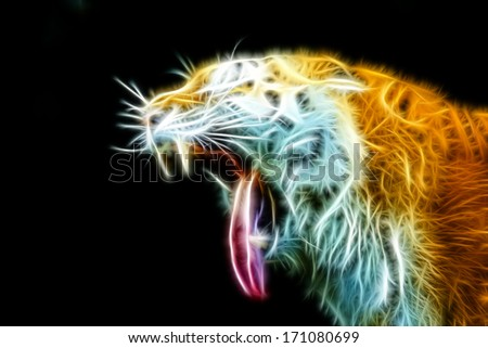 Side view of tiger head head with open mouth and tongue out. Horizontally. - stock photo