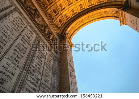 Side view of Triumph Arc at winter sunset - Arc de Triomphe of Paris  - stock photo