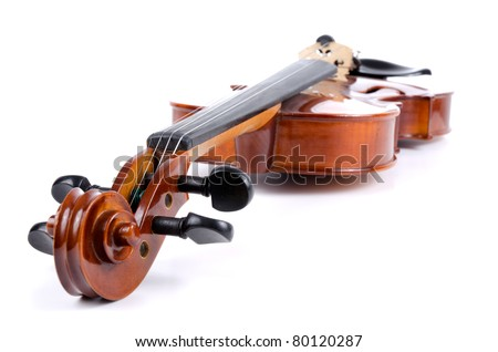 Side view of violin on white background.