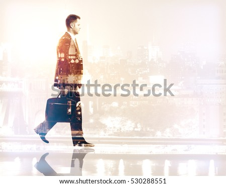 Side view of walking businessman on city background. Double exposure. Career concept