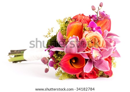 side view of wedding bouquet - stock photo