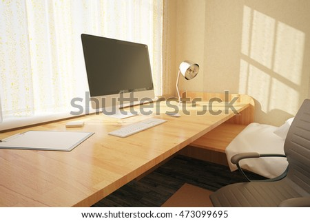 Side view of workplace with blank computer screen in bedroom interior with swivel-chair, other objects and sunlight. Mock up, 3D Rendering