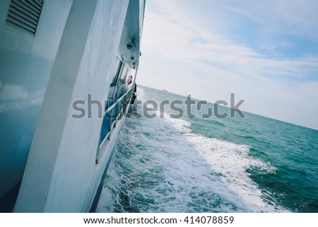 Side view of Yacht on beautiful sea and wave