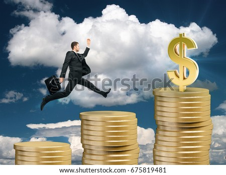 Side view of young businessman running up golden coin ladder on sky background. Wealth concept. 3D Rendering