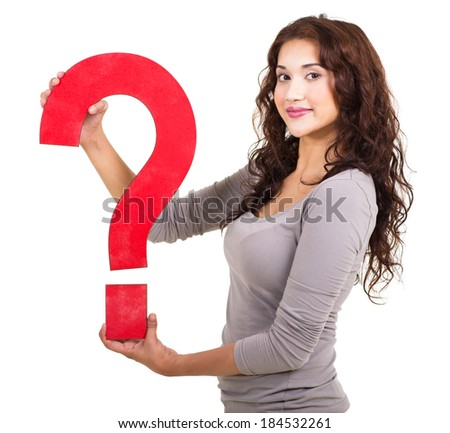 side view of young girl with question mark symbol  isolated on white - stock photo