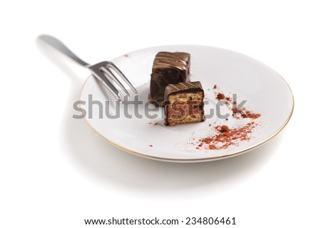 Side view or cross cake on saucer. Texture and used ingredient for this cake are visible. - stock photo