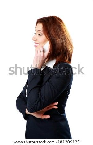 Side view portrait of a smiling businesswoman talking on the phone isolated on a white background - stock photo