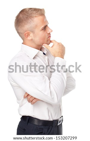 Side view portrait of pensive young man isolated on white background - stock photo