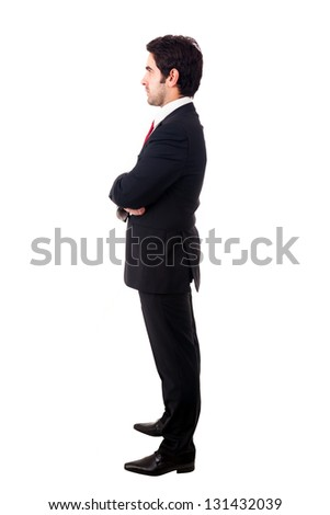 Side view profile of a young business man. Full length, isolated on white.