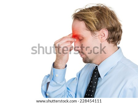 Side view profile portrait headshot middle age man having headache hand on head isolated on white background. Human face expression, emotion, feeling, life perception  - stock photo