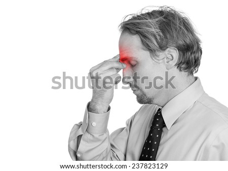 Side view profile portrait headshot middle age man having suffering headache hand on head sinus pressure, red area isolated white background. Human face expression, emotion, feeling, life perception - stock photo