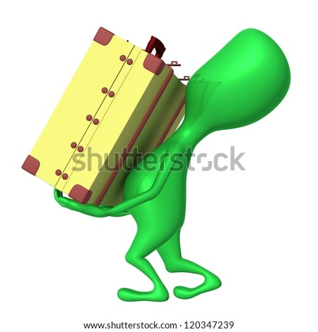 Side view puppet carry suitcase on his arms - stock photo