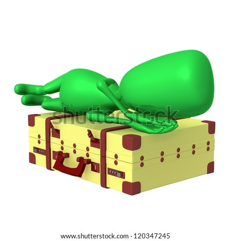 Side view puppet sleeping calmly on big suitcase - stock photo