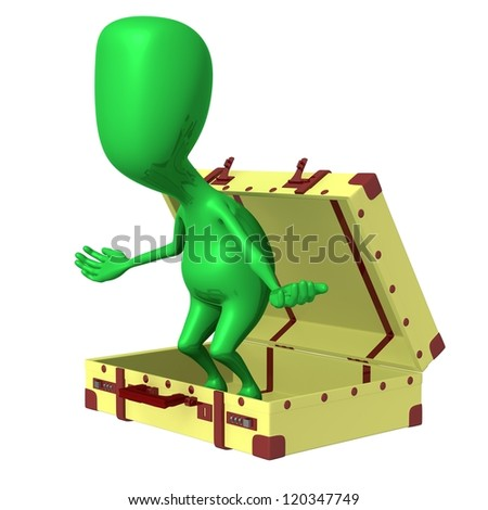 Side view puppet surprisingly jump out from suitcase - stock photo