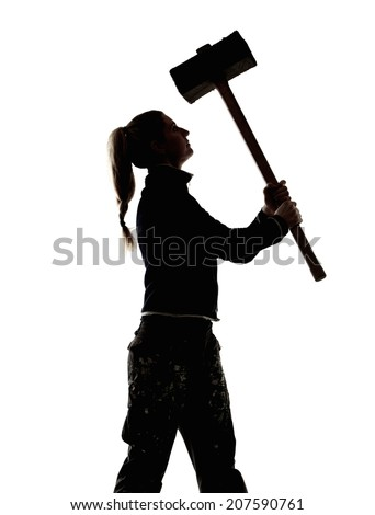 sledgehammer silhouette. side view silhouette of a woman worker holding sledgehammer e
