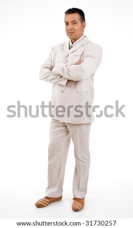 side view standing ceo with crossed arms with white background - stock photo