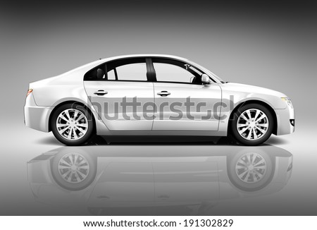 Side view studio shot of white car. - stock photo
