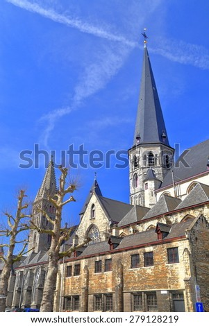 Side view to medieval building of St James church (Sint-Jacobskerk), Ghent, Belgium