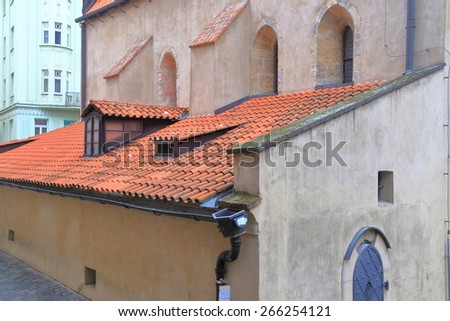 Side wall of the Old New Synagogue built in Gothic style in the old Jewish Quarter (Josefov), Prague , Czech Republic - stock photo