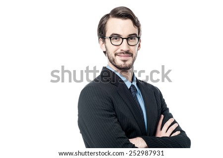 Side ways of young confident businessman  - stock photo