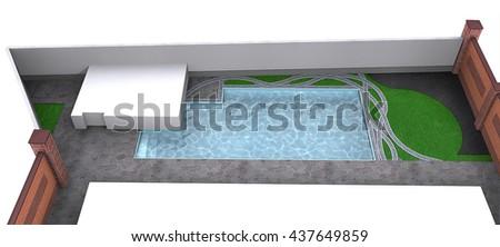 Side yard poolside, 3d rendering - stock photo